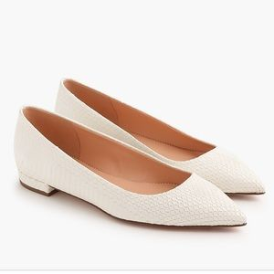 J Crew Pointed Toe Flats Snakeskin Printed Leather